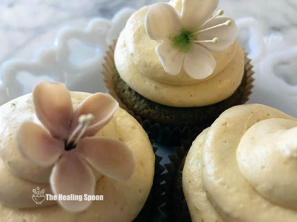 Low Carb Green Tea Cupcakes with Ginger Lime Cream Cheese Frosting